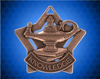 2 1/4 inch Bronze Lamp of Knowledge Star Medal
