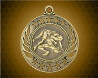 2 1/4 inch Gold Wrestling Galaxy Medal