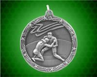 1 3/4 inch Silver Wrestling Shooting Star Medal