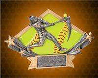 4 1/4 x 6 1/4 Inch Female Softball Diamond Star Resin