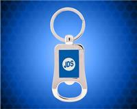 "2 1/8"" Silver/Blue Laserable Bottle Opener Keychain"