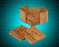 3 3/4 x 3 3/4 Inch Bamboo 6 Coaster Set with Holder