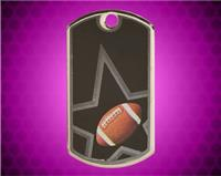 2 inch Black/Silver Football Laserable Star Dog Tag