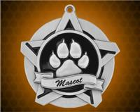2 1/4 inch Silver Mascot Super Star Medal