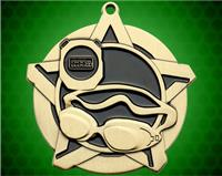 2 1/4 inch Gold Swimming Super Star Medal