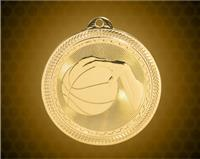 2 inch Gold Basketball Laserable BriteLazer Medal