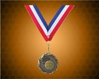 Gold Basketball Medal with a 7/8 x 32 inch Red, White, and Blue Ribbon