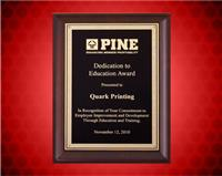 9 x 12 inch Cherry Finish Plaque with Black and Gold Florentine Plate