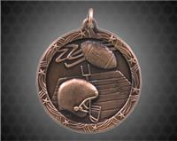 2 1/2 inch Bronze Football Shooting Star Medal