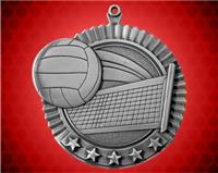 2 3/4 inch Silver Volleyball Star Medal
