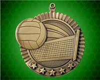2 3/4 inch Gold Volleyball Star Medal