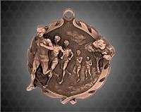 1 3/4 inch Bronze Male Cross Country Wreath Medal