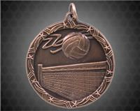 2 1/2 inch Bronze Volleyball Shooting Star Medal