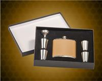 6 oz. Leather Stainless Steel Flask with Presentation Box