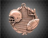 1 3/4 inch Bronze Football Wreath Medal