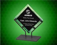 7 1/2 Inch Green Galaxy Acrylic Plaque With Iron Stand