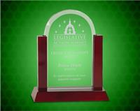 8 inch Jade Dome Gateway Glass Award with Rosewood Piano Finish Base