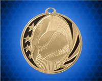 2 inch Gold Baseball Laserable MidNite Star Medal