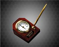 3 5/8 x 4 3/4 inch Rosewood Piano Finish Desk Clock with Pen
