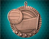 2 3/4 inch Bronze Volleyball Star Medal