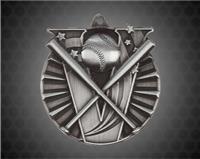 2 Inch Silver Baseball Victory Medal