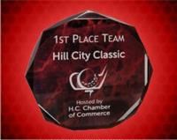 5 Inch Red Marble Octagon Acrylic Award