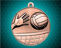 2 inch Bronze Volleyball Die Cast Medal