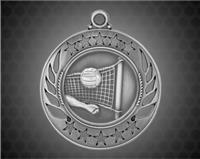2 1/4 inch Silver Volleyball Galaxy Medal