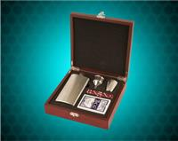 6 oz. Flask Set with a Rosewood Finished Wooden Presentation Box