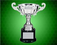 6 1/2 Inch Silver Completed metal Cup Trophy on Plastic Base