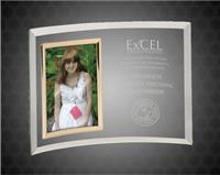 7 x 10 Inch Clear Glass Crescent With 3 1/2 x 5 Inch Picture Frame