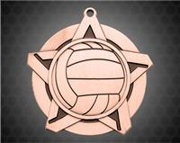 2 1/4 inch Bronze Volleyball Super Star Medal