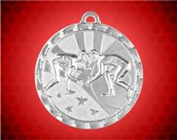 2 inch Silver Wrestling Bright Medal