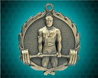 1 3/4 inch Gold Weightlifting Wreath Medal